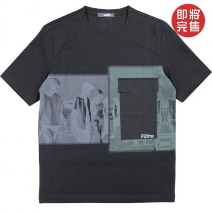 091272負片網點水印印花工裝口袋工藝TEE-黑色