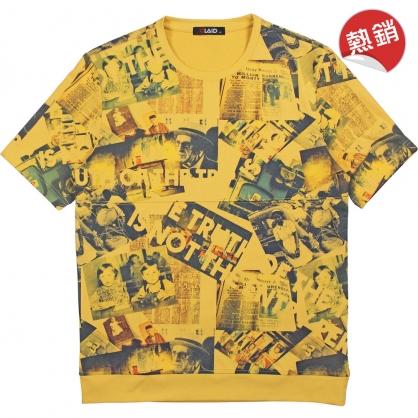 091275復古雜誌照片四色撞色推疊風格舒棉平紋混紡TEE-黃色