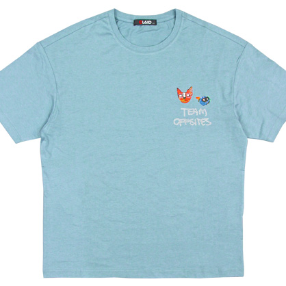 091295貓咪塗鴉手工網絲印環保活性染料TEE-藍色