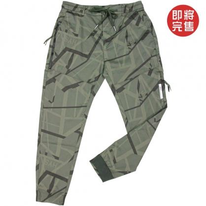 091808抽繩拉鍊幾何圖形前本布後羅紋縮口褲