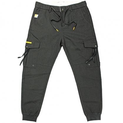 091811輕工裝拉鍊抽繩兩用短羅紋褲腳休閒褲