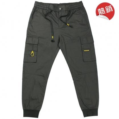 091812輕工裝拉鍊抽繩兩用全羅紋縮腳休閒褲