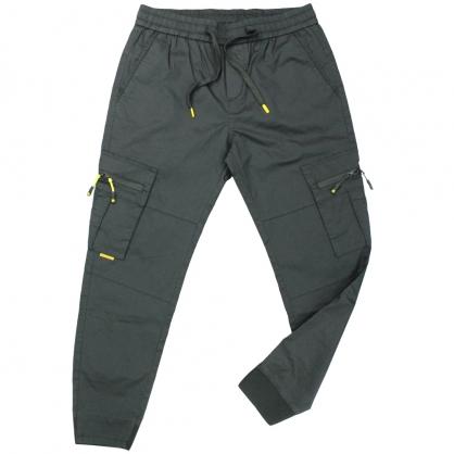 091813輕工裝彈性抽繩拉鍊口袋縮口休閒褲-黑色