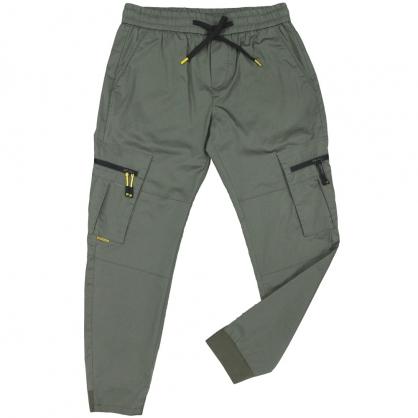 091813輕工裝彈性抽繩拉鍊口袋縮口休閒褲-綠色