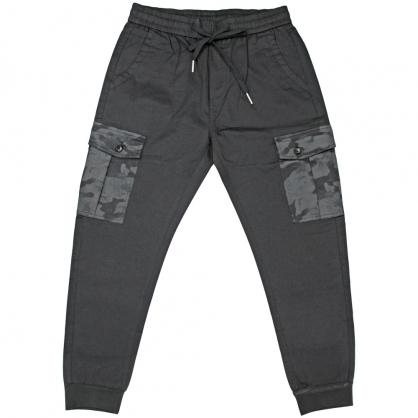 091817輕時尚工裝迷彩雙口袋全羅紋縮口褲-黑色