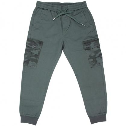 091817輕時尚工裝迷彩雙口袋全羅紋縮口褲-綠色