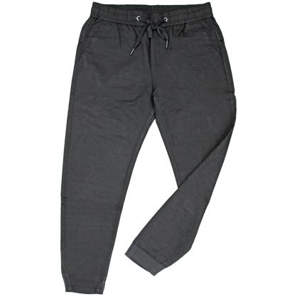 091821全素面彈性抽繩前本布後羅紋縮口褲-黑色
