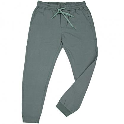 091821全素面彈性抽繩前本布後羅紋縮口褲-綠色