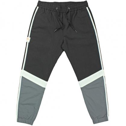 091831運動風彈性抽繩雙色設計束腳棉料休閒褲