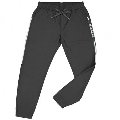 091832兩側織帶邊條素面彈性抽繩縮口褲