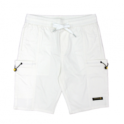 091891莫代爾純素色彈性抽繩工裝中褲-白色