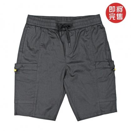 091891莫代爾純素色彈性抽繩工裝中褲-黑色
