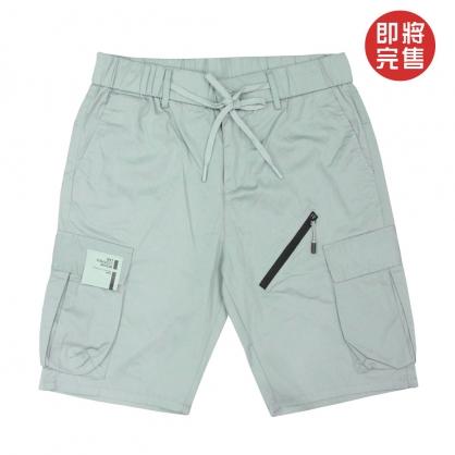 091892灰綠色系列拉鍊設計立體口袋工裝中褲