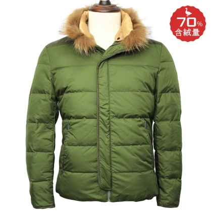 官網獨家二折麂皮拼接毛領羽絨外套-綠色