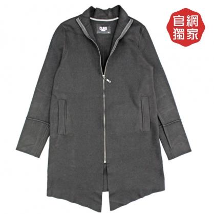 052643經典款重磅針織立領前長後短長版外套