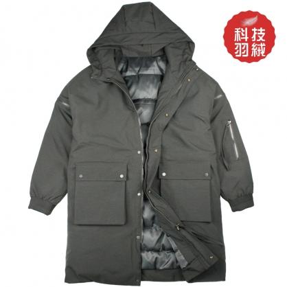 072632厚款科技羽絨連帽長版立體大口袋大衣