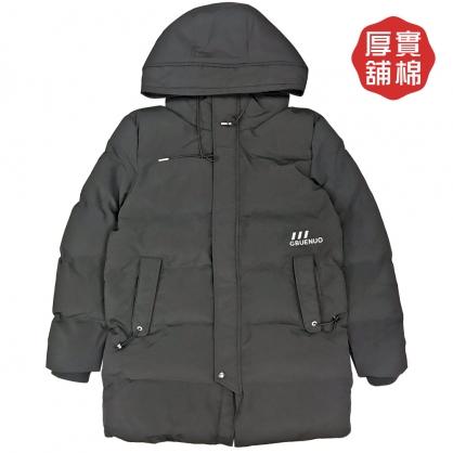 082648素色厚款中長版連帽舖棉保暖外套