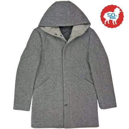 082641經典素面羊毛雙配色休閒連帽大衣-灰色