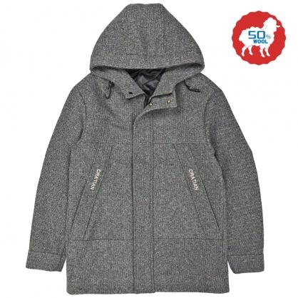 082642經典素面羊毛連帽休閒大衣