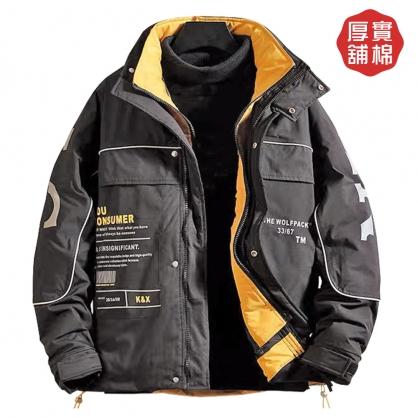 082521聚暖複合厚鋪棉短版立領工裝外套-黑色