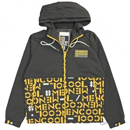 082511coolmen雙配色運動風數碼印花連帽防風外套-黑色