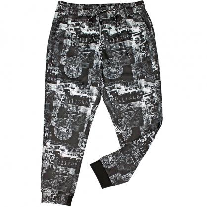 082809滿版古羅馬數碼印花彈性抽繩縮口褲
