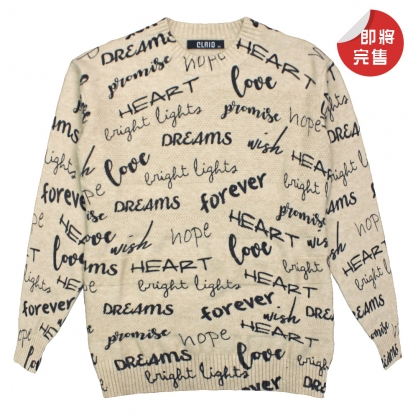 082133滿版隨興字母棉料針織毛衣