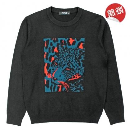 082105叢林風格數碼膠印花豹針織線衫