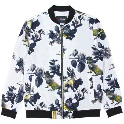 092506滿版變色龍數碼印花和尚領外套