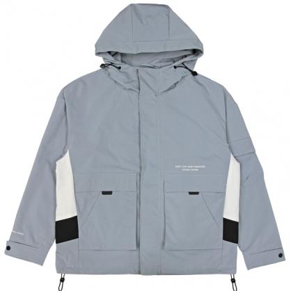 092512工裝雙拼接防風連帽休閒外套-灰藍色