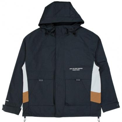 092512工裝雙拼接防風連帽休閒外套-黑色