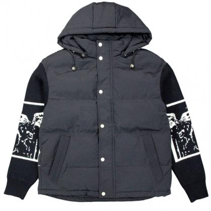 092531針織袖假2件科技羽絨短版連帽外套-黑色