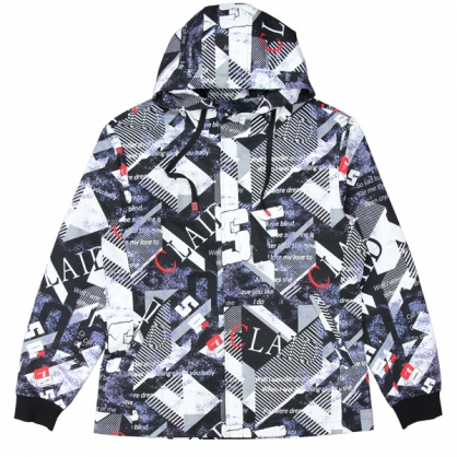 092601幾何交錯數碼印花中長版連帽外套