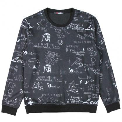 092212滿版塗鴉數碼暗緹花圓領衛衣-黑色