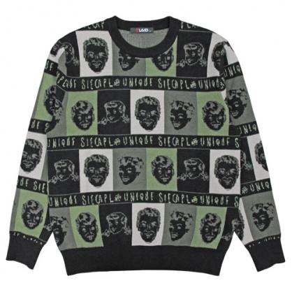 092101滿版微笑家庭棉料針織毛衣-黑色