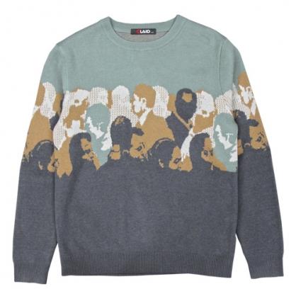 092102滿版人像元素棉料針織毛衣-深灰色