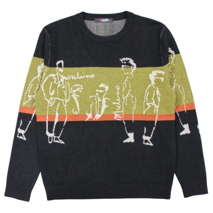 092105特殊緹花針法抽象人物元素針織毛衣
