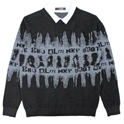 092107暈染緹花假2件式棉紗針織毛衣