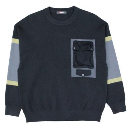 092108撞色拼接直條絨布口袋輕工裝針織毛衣