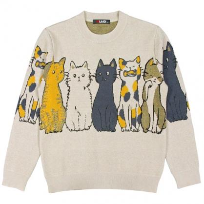 092111趣味貓咪提花工藝棉料針織毛衣-卡其色