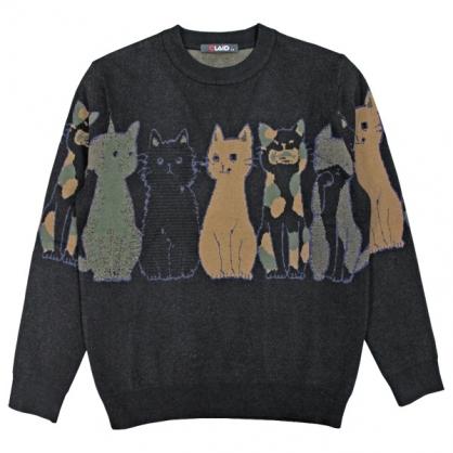 092111趣味貓咪提花工藝棉料針織毛衣-黑色