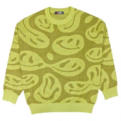 092112寬鬆版微笑緹花針織毛衣-草綠色