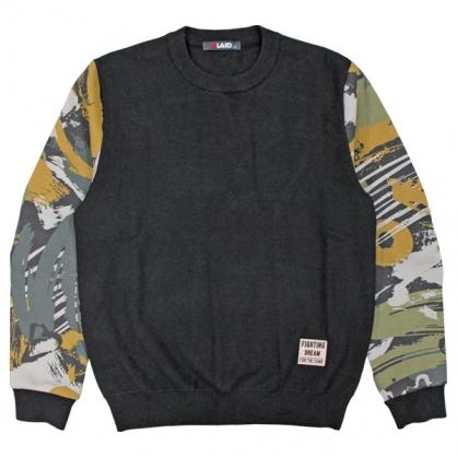 092115迷彩印花袖結合針織拼接毛衣
