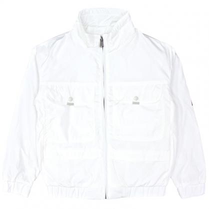 092521素色炫彩漸層字母輕工裝休閒外套-白色