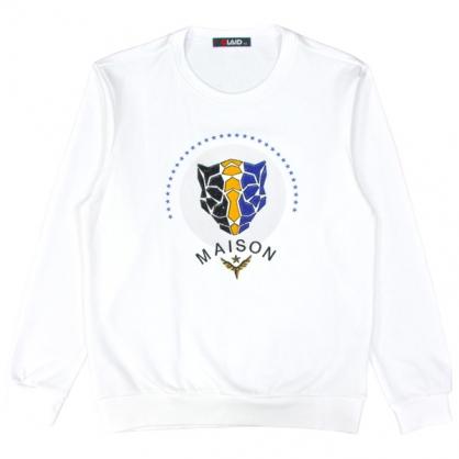 092233珠片串聯刺繡立體豹頭衛衣-白色