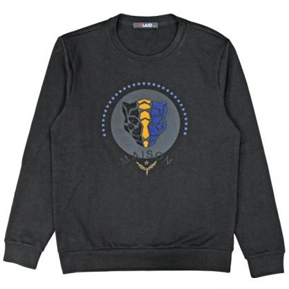 092233珠片串聯刺繡立體豹頭衛衣-黑色