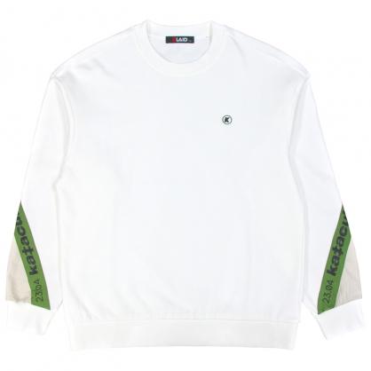 092245運動元素異素材撞色袖舒棉衛衣-白色