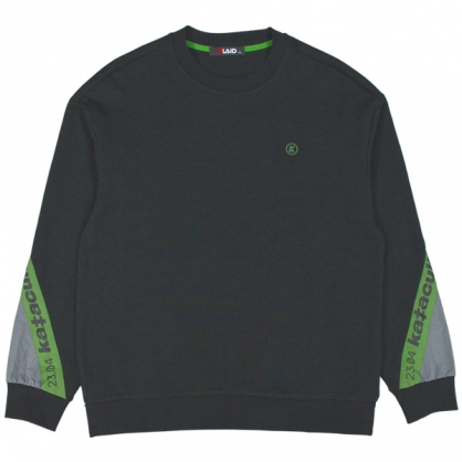 092245運動元素異素材撞色袖舒棉衛衣-黑色