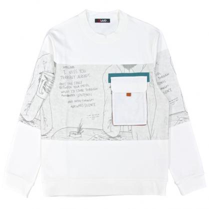 092247休閒文青手工印立體口袋衛衣-白色