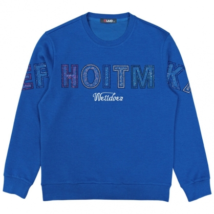092251閃亮工藝組合字母圓領衛衣-藍色